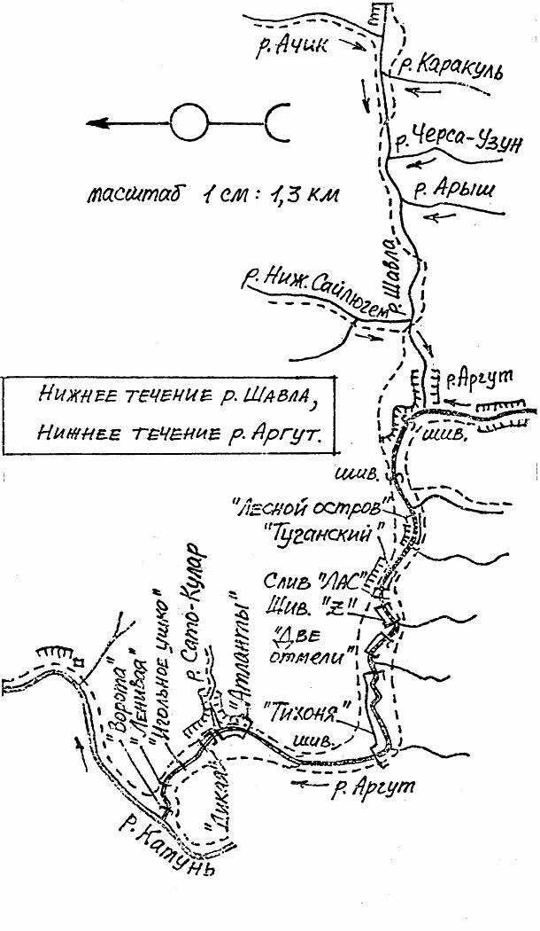 Нижнее теченик реки Шавла Нижнее течение реки Аргут (схема) .